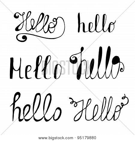 Hello In Different Style Vector Set. Hand Drawn Collection Of Hello, Calligraphic Lettering
