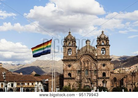 Cusco Flag Flying In Plaza De Armas Peru