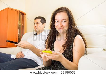 Couple Using Technology