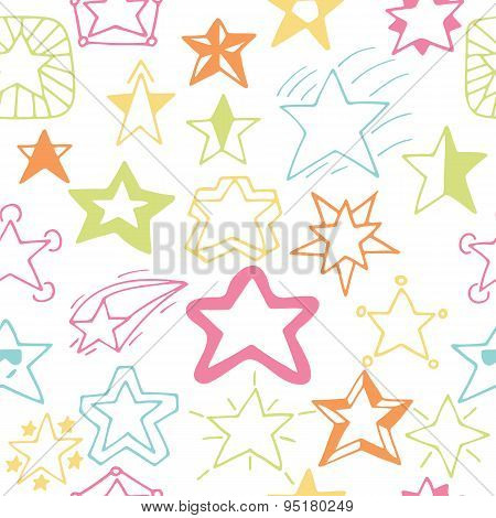 Seamless Pattern With Hand Drawn Stars. Sketchy Star Seamless Background