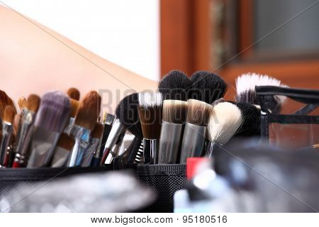 makeup brushes closeup
