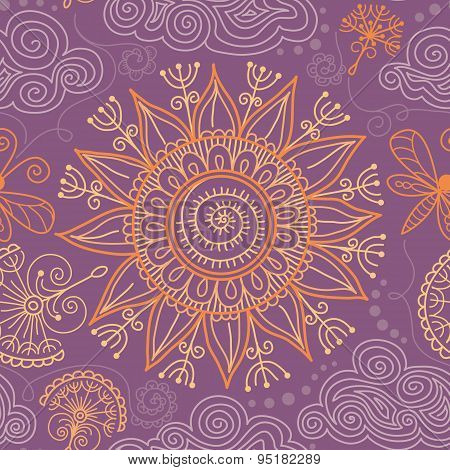 vector seamless sunny floral pattern
