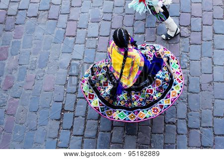 Woman Twirling In Colorful Native Costume Cusco Peru
