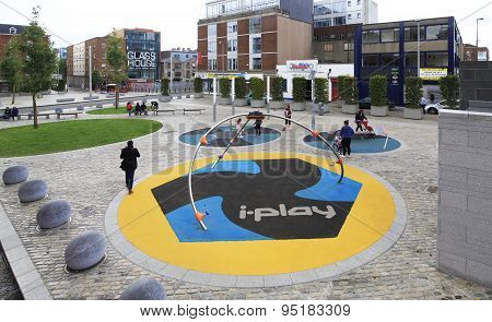 Modern playground in the center of Dublin.