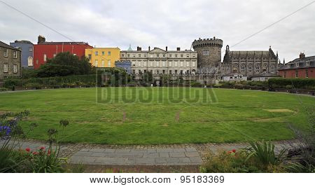 Dublin Castle, seen from the park to south, outside walls.