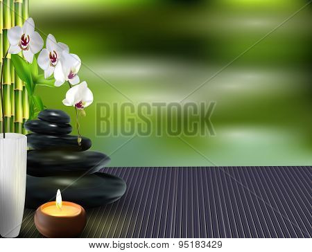 Stone, flower and bamboo on the table background