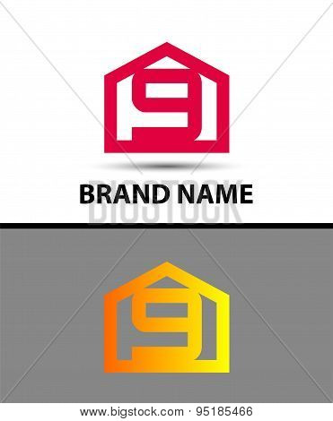Number 9 logo. Vector logotype design with house icon