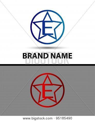 Vector elegant alphabet star element Letter e