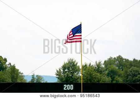 American Flag Pole In Outfield