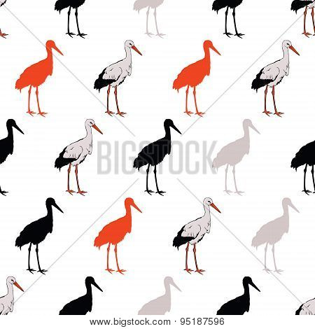 Vector Black Rad Standing Cranes Seamless Pattern