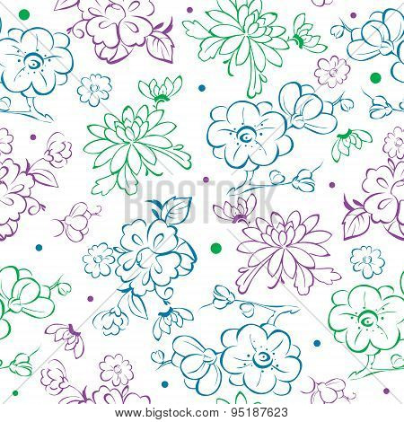 Vector Blue Purple Green Kimono Flowers Drawing Seamless Pattern