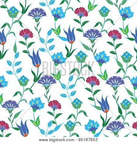 Vector Colorful Spring Turkish Flowers Seamless Pattern