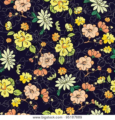 Vector Dark Background Kimono Gold Flowers Seamless Pattern