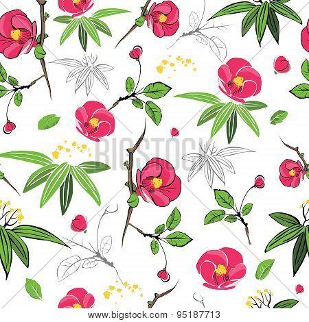 Vector Magenta Green Kimono Flowers Seamless Pattern