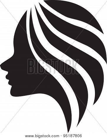 The beautiful girl (silhouette), icon design