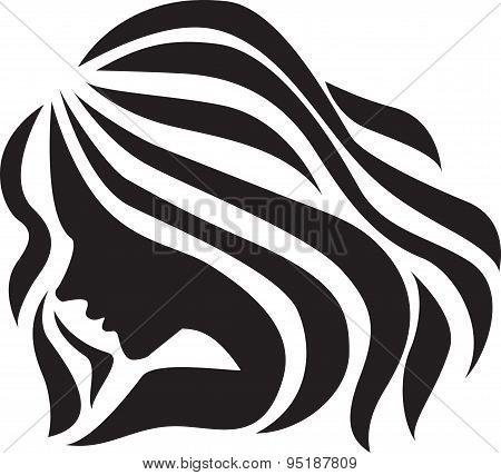 The beautiful girl (silhouette), icon design.