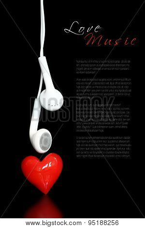 Earphone and a red heart