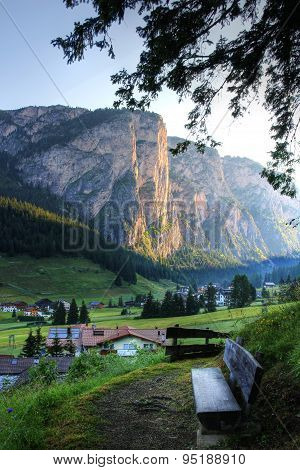 Vallunga valley with the Stevia Cliff, Dolomites, Italy