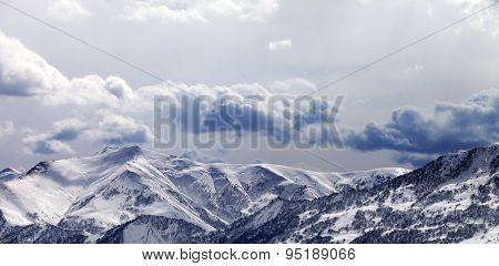 Panoramic View On Mountains In Evening And Cloudy Sky