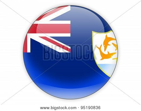 Round Icon With Flag Of Anguilla
