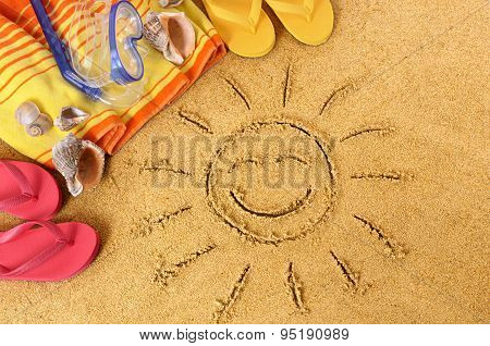 Beach Background With Smiling Sun