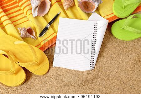 Beach Background With Notebook