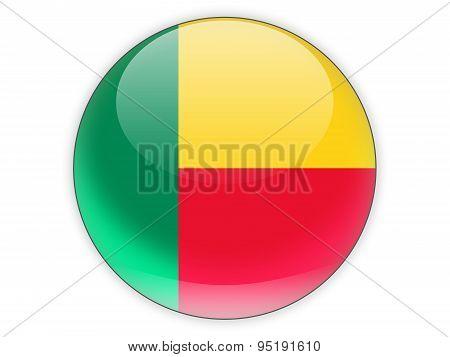 Round Icon With Flag Of Benin