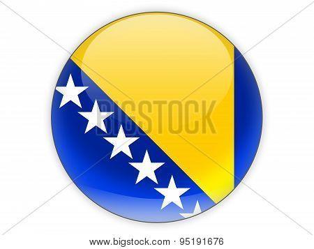 Round Icon With Flag Of Bosnia And Herzegovina