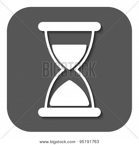 The Hourglass Icon. Chronometer And Timer, Clock Symbol. Flat