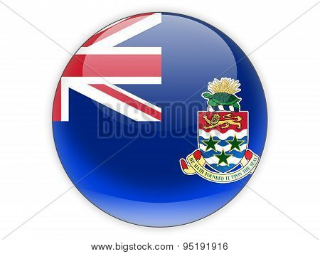 Round Icon With Flag Of Cayman Islands