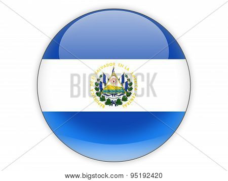 Round Icon With Flag Of El Salvador