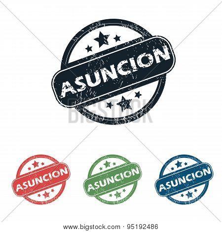 Round Asuncion city stamp set