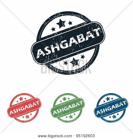 Round Ashgabat city stamp set