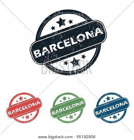 Round Barcelona city stamp set