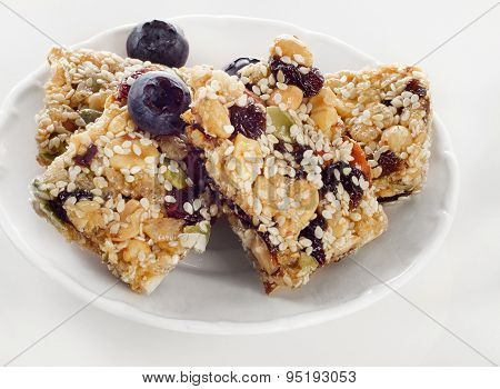Healthy Fruit And Nut Granola Bars On Plate