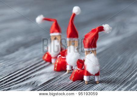 New Year Postcard Design. Clothespin Santa Claus.