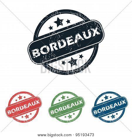 Round Bordeaux city stamp set
