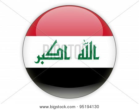 Round Icon With Flag Of Iraq