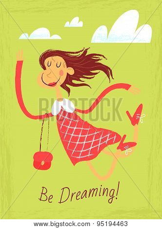 Dreaming Girl Flying In The Sky
