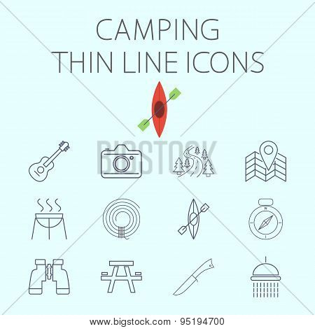 Camping related flat vector icon set