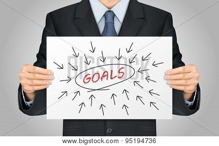 Businessman Holding Goals Word Poster