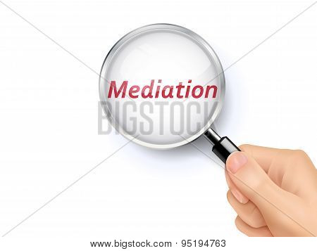 Mediation Word Showing Through Magnifying Glass