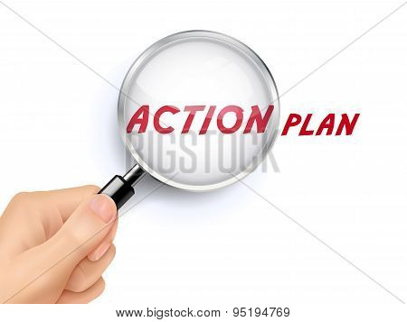 Action Plan Word Showing Through Magnifying Glass