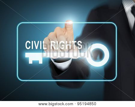 Male Hand Pressing Civil Rights Key Button