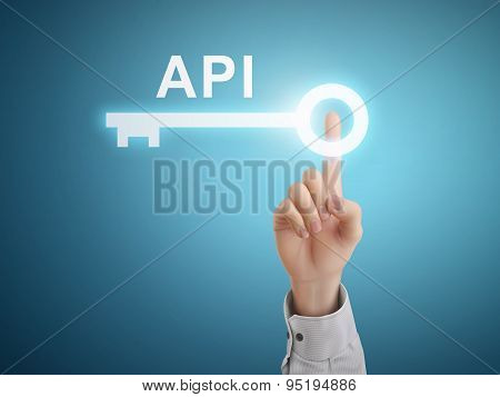 Male Hand Pressing Api Key Button