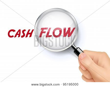 Cash Flow Word Showing Through Magnifying Glass