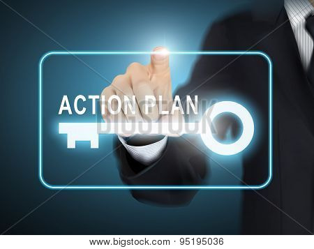 Male Hand Pressing Action Plan Key Button
