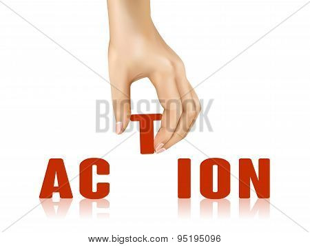 Action Word Taken Away By Hand
