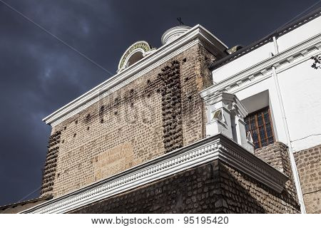 Ancient Walls Of The  Carmen Bajo Church, Quito.