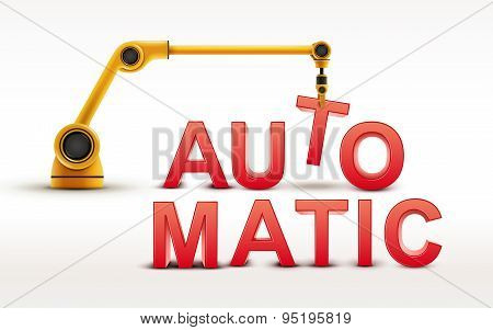 Industrial Robotic Arm Building Automatic Word